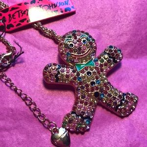 Betsey Johnson gingerbread necklace/pin
